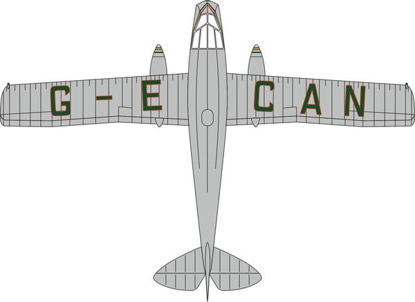 72DG001 Oxford Diecast de Havilland DH84 Dragon G-ECAN Railway Air Services