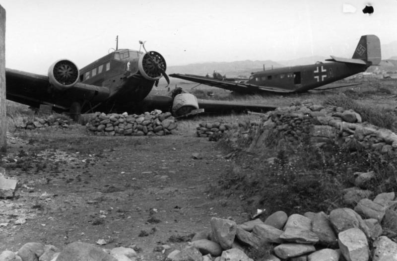 Ju52s damaged in Crete 1941
