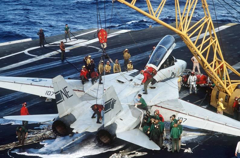 F-14A Tomcat VF-1 CVW-2 embarked on USS Kitty Hawk CV 63 after an emergency barricade landing - 1984