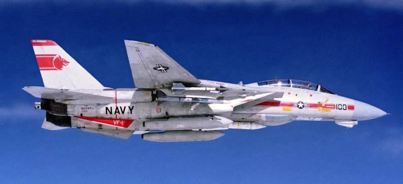 F-14A Tomcat VF-1 CVW-2 loaded with AIM-9 Sidewinder, AIM-7 Sparrow and AIM-54 Phoenix missiles - 1988
