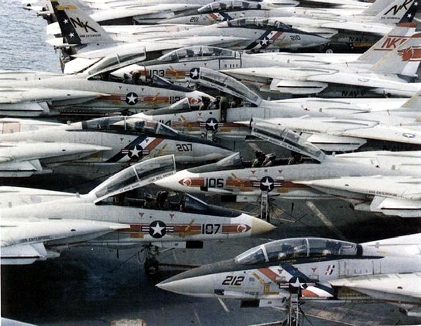 F-14A Tomcats VF-1 & VF-2 CVW-14 embarked on USS Enterprise CVN 65 - circa 1975
