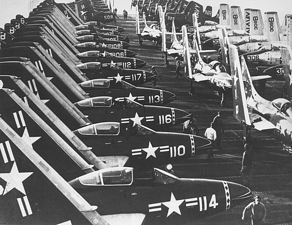 F9F Cougars F2H Banshees AD Skyraiders on Oriskany deck