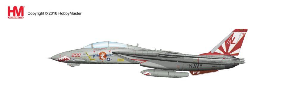"HA5213 Hobbymaster Grumman F-14A Tomcat ""Miss Molly"" VF-111 ""Sundowners"", USS Carl Vinson 1989"