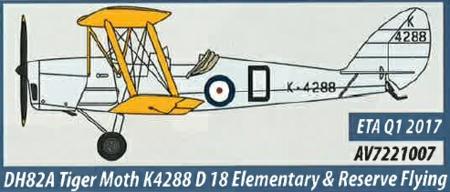 AV7221007 Aviation 72 DH82a Tiger Moth K4288 D 18 Elementary and Reserve Flying