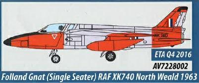 AV7228002 Aviation 72 Folland Gnat Single Seater RAF XK740 North Weald 1963