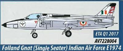 AV7228004 Aviation 72 Folland Gnat Single Seater Indian Air Force E1974