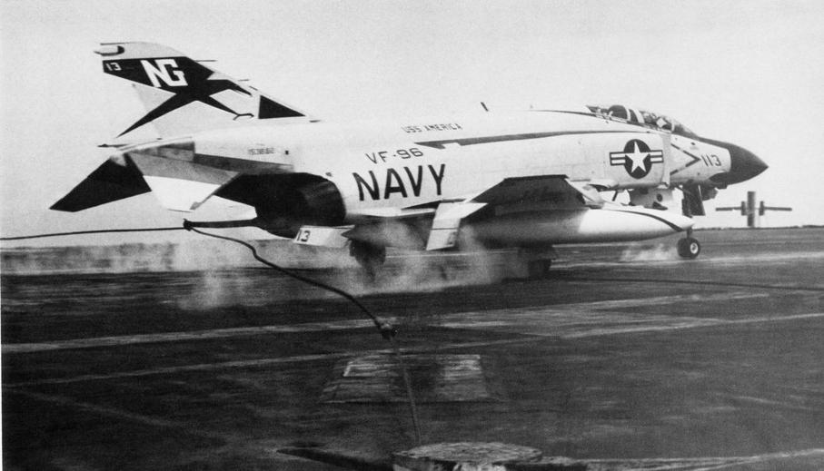 F-4J VF-96 landing on USS America (CVA-66) in 1970