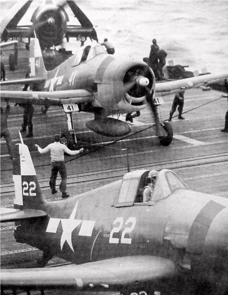 VF-11 F6Fs aboard the USS Hornet in 1945