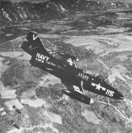 VF-111 F9F-2 dropping bombs over Korea, 1951-52