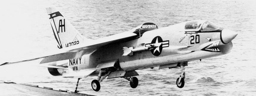 VF-111 Det.11 Omar's Orphans F-8C landing on USS Intrepid in 1967