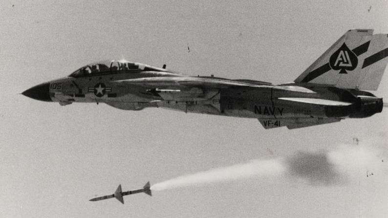 F-14A Tomcat (VF-41 / CVW-8) embarked on USS Nimitz (CVN 68) launches an AIM-7 Sparrow missile - circa 1978