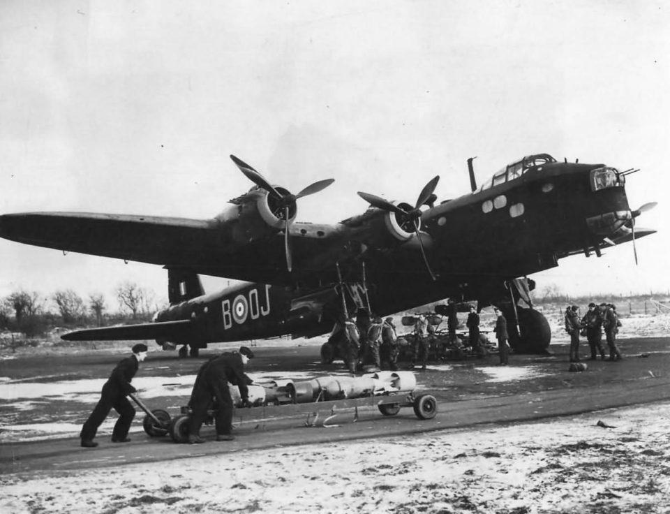 Short Stirling W7455 OJ-B of No.149 Squadron RAF Bomber Command at Mildenhall